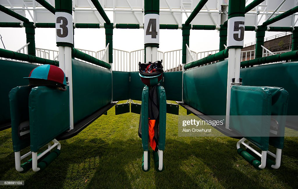 Stalls handlers skull hats sit on the stalls at Chester racecourse on May 6, 2016 in Chester, England.