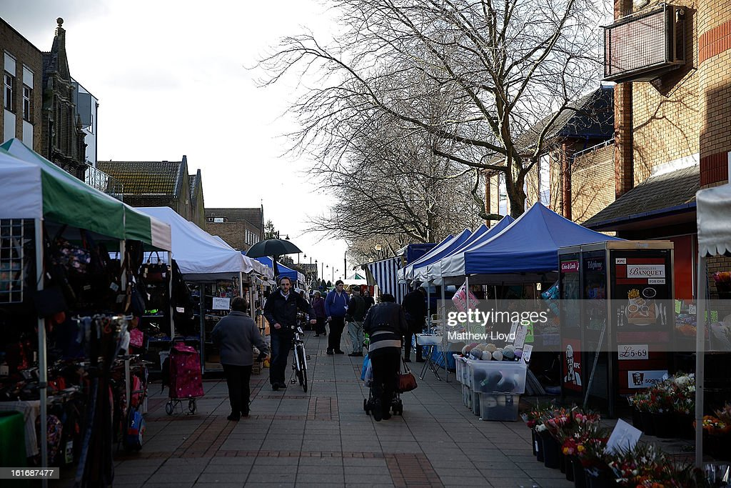 Stalls set up on market day in the town centre on February 14, 2013 in Eastleigh, Hampshire. A by-election has been called in the constituency of Eastleigh after it's former MP, Chris Huhne, resigned after pleading guilty to perverting the course of justice over claims his ex-wife took speeding points for him in 2003.
