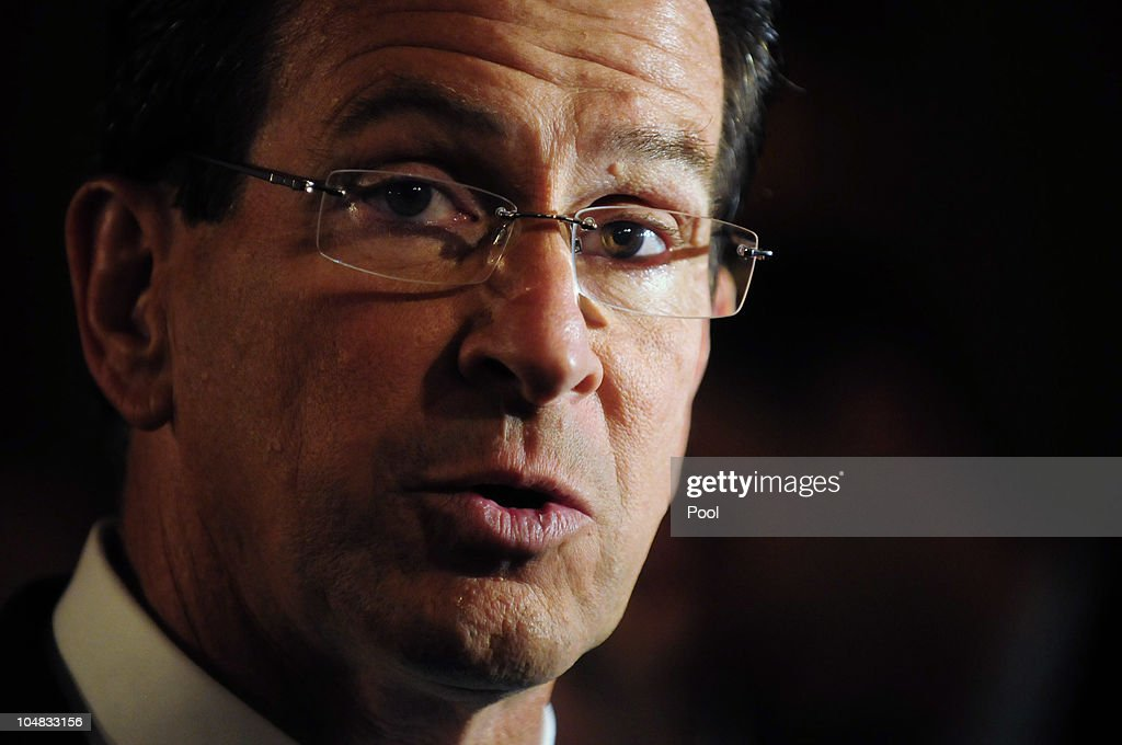 Stamford Mayor and Democratic nominee Dannel Malloy addresses the press after his debate with former US Ambassador to Ireland businessman and...