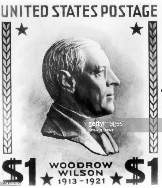 S Stamp Bearing The Image Of Thomas Woodrow Wilson President Of The United States From 1913 To 1921 Dating From 1938 This Stamp Was Part Of A Series...