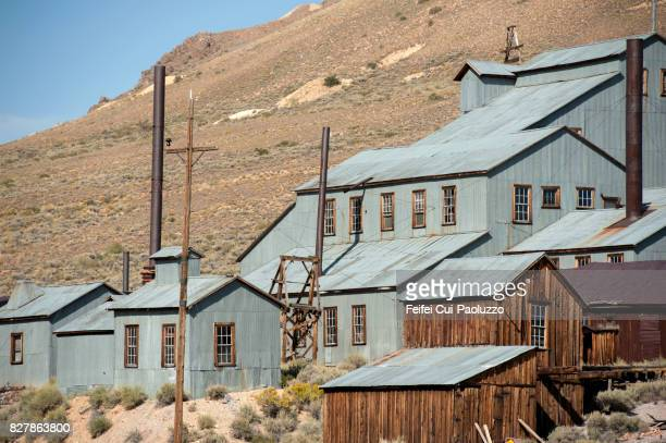 Stamp mill building at Bodie State Historic Park, Gold Mining Ghost Town, California, USA