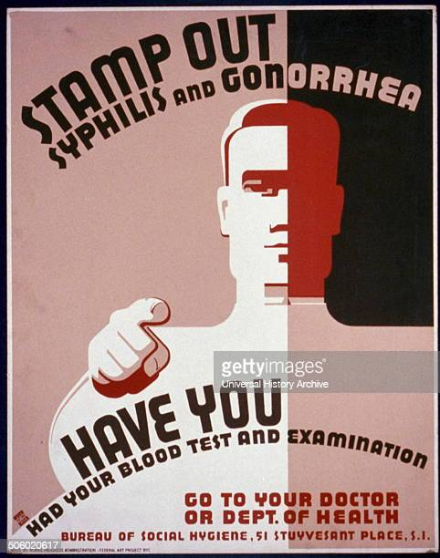 Stamp out syphilis and gonorrhea Have you had your blood test and examination Go to your doctor or Deptartment of Health Poster issued by the Works...
