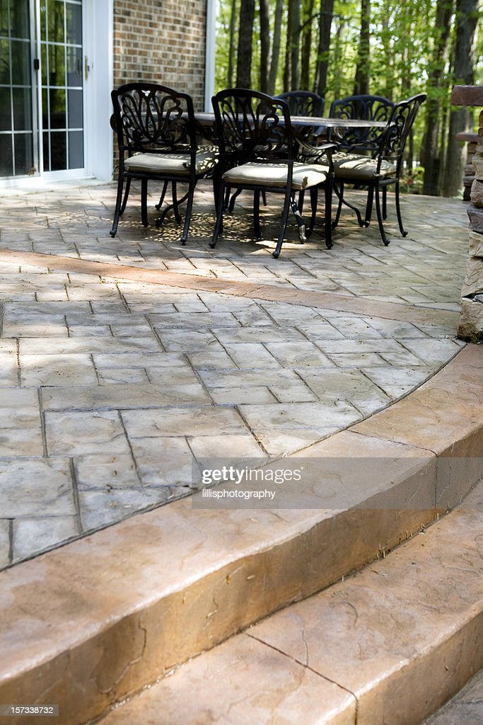 Stamped Concrete Patio And Terrace : Stock Photo