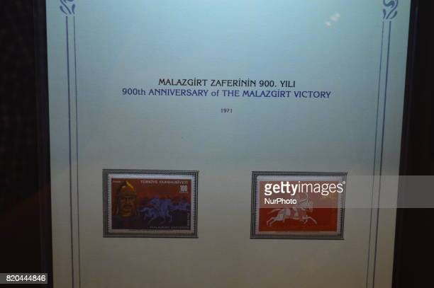 Stamps marking the 900th anniversary of the Battle of Manzikert are seen at the PTT Stamp Museum in Ankara Turkey on July 21 2017