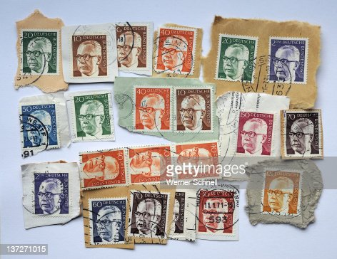 Stamps with Federal President Gustav Heinemann : Stock Photo