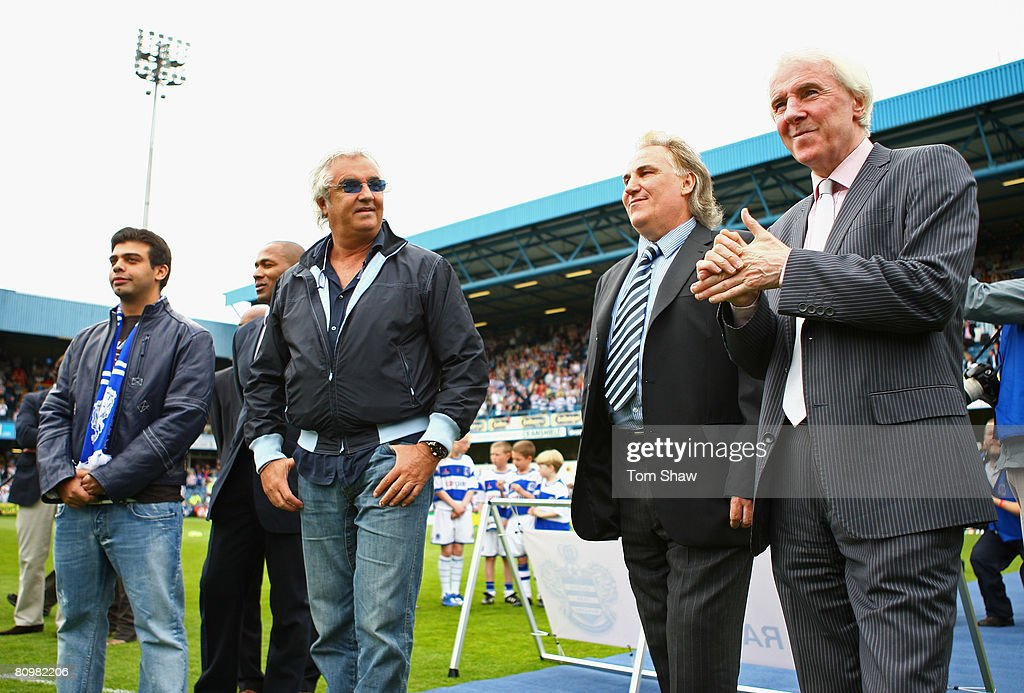 Stan Bowles (R), Gerry Francis (2ndR), Flavio Briatore (3rdR), Les Ferdinand and Amit Bhatia (L) look on after unveiling the new club badge during the Coca Cola Championship match between Queens Park Rangers and West Bromwich Albion at Loftus Road on May 4, 2008 in London, England.