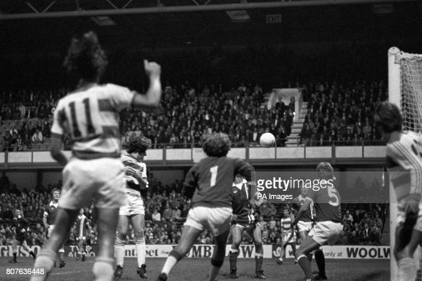 Stan Bowles heads in to Queens Park Rangers 10 up after 29 minuets during their UEFA Cup match with SK Brann Bergen The match ended 40