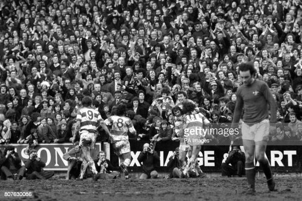 Stan Bowles is congratulated by his Queens Park Rangers teammates after scoring against West London rivals Chelsea His would be the only goal during...