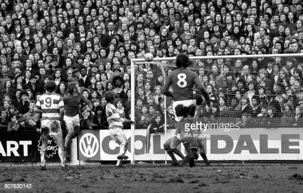 Stan Bowles scores against West London rivals Chelsea to give Queens Park Rangers the lead Chelsea goalkeeper John Phillips can only watch from mid...