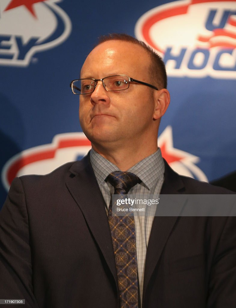 Stan Bowman, an advisor to the 2014 Men's Olympic Hockey Team is introduced at the Marriott Marquis Hotel on June 29, 2013 in New York City.