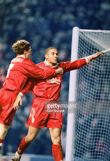 Stan Collymore celebrates his second goal for Liverpool during their 40 Premier League victory against Leeds at Anfield 19th February 1997