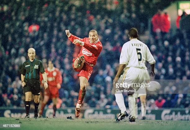 Stan Collymore playing for Liverpoolduring their 40 Premier League victory against Leeds at Anfield 19th February 1997