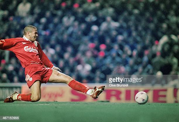 Stan Collymore scoring his second goal of the match during Liverpool's 40 Premier League victory against Leeds at Anfield 19th February 1997