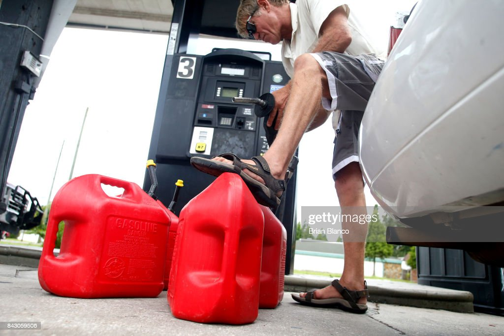 Stan Glass, of St. Petersburg, fills four 5-gallon fuel tanks with gasoline for his boat should he have to evacuate by boat as residents in the area prepare ahead of Hurricane Irma on September 05, 2017 in St. Petersburg, Florida. The National Hurricane Center (NHC) has reported that Hurricane Irma has strengthened to a Category 5 storm as it crosses into the Caribbean and is expected to move on towards Florida.