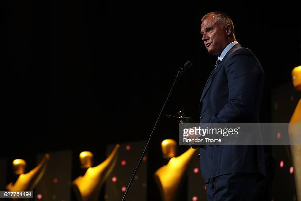 Stan Grant wins the AACTA Subscription TV Award for Best Male Presenter for Crimes That Shock Australia during the 6th AACTA Awards Presented by...