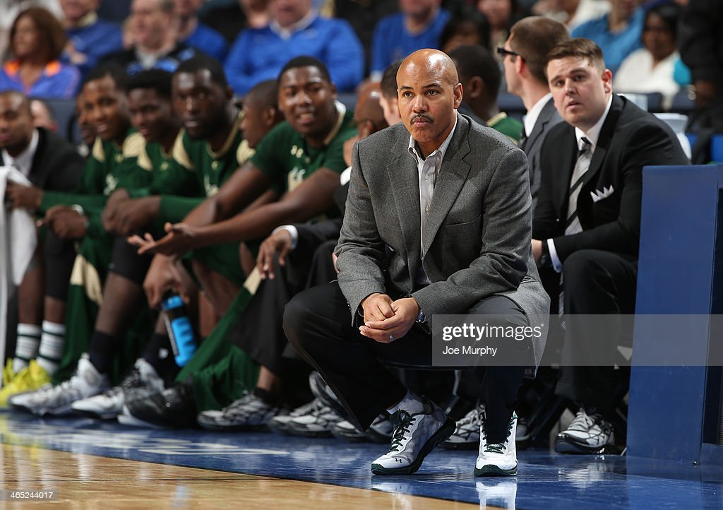 Stan Heath, head coach of the USF Bulls wears sneakers in support of Coaches vs. Cancer against the Memphis Tigers on January 26, 2014 at FedExForum in Memphis, Tennessee. Memphis beat South Florida 80-58.