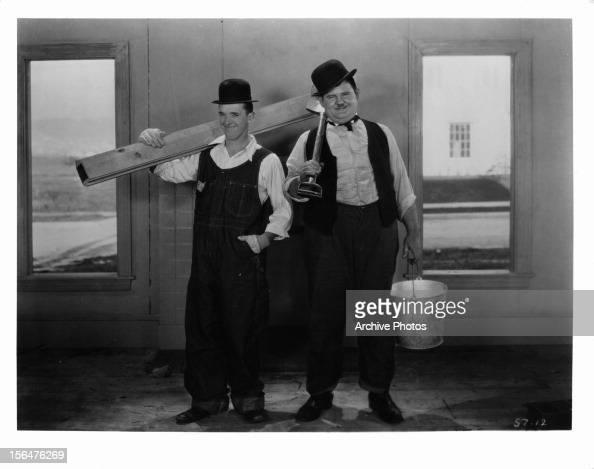 Stan Laurel and Oliver Hardy in publicity portrait for the film 'The Finishing Touch' 1928