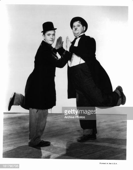 Stan Laurel and Oliver Hardy publicity portrait for the film 'Way Out West' 1937