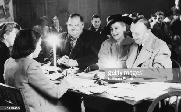 Stan Laurel And Oliver Hardy Waiting For Ration Cards In London On February 15Th 1947