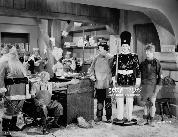 Stan Laurel as Stannie Dum and Oliver Hardy as Ollie Dee in a scene from 'Babes in Toyland' adapted from Victor Herbert's opera and directed by Gus...