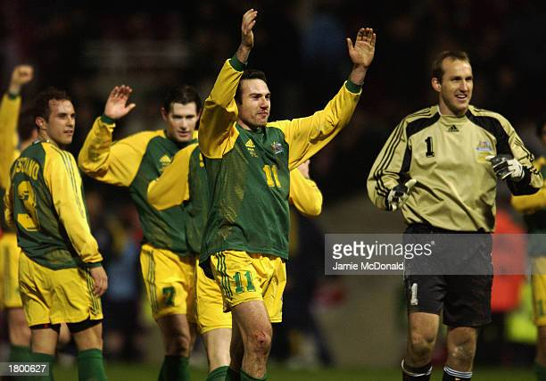 Stan Lazaridis of Australia celebrates with his team mates after the International Friendly match between England and Australia held on February 12...