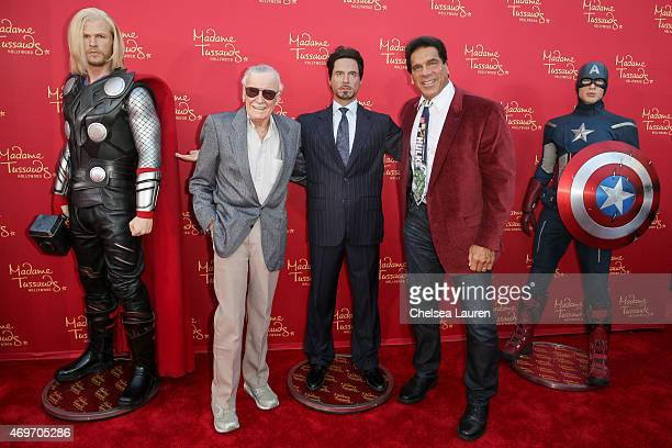 Stan Lee and actor Lou Ferrigno pose with Madame Tussauds Hollywood's figures at the 'Avengers Age of Ultron' premiere at Dolby Theatre on April 13...
