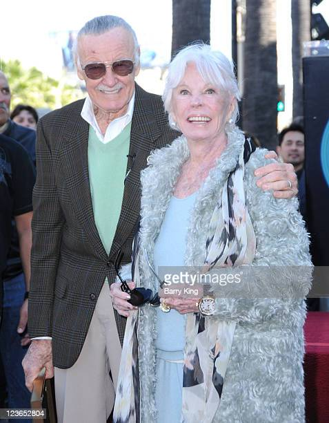 Stan Lee and his wife Joan Lee attend the ceremony honoring him with a Star on the Hollywood Walk of Fame held on January 4 2011 in Hollywood...