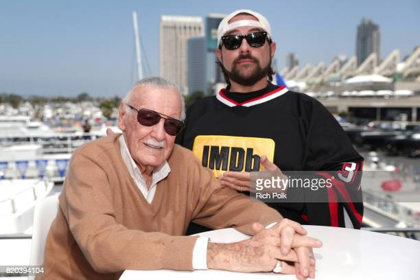 Stan Lee and host Kevin Smith on the #IMDboat at San Diego ComicCon 2017 on the IMDb Yacht on July 21 2017 in San Diego California