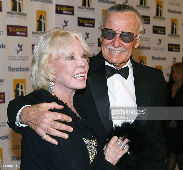 Stan Lee and wife Joan arrive at The Hollywood Awards Gala at the Beverly Hilton Hotel October 18 2004 in Beverly Hills California