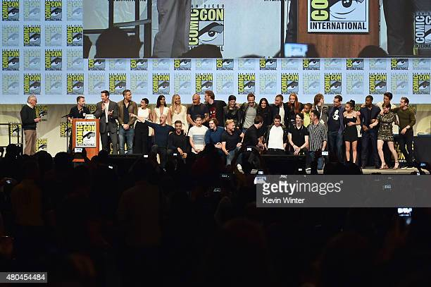 Stan Lee appears with cast and crew of FOX superhero movies onstage at the 20th Century FOX panel during ComicCon International 2015 at the San Diego...