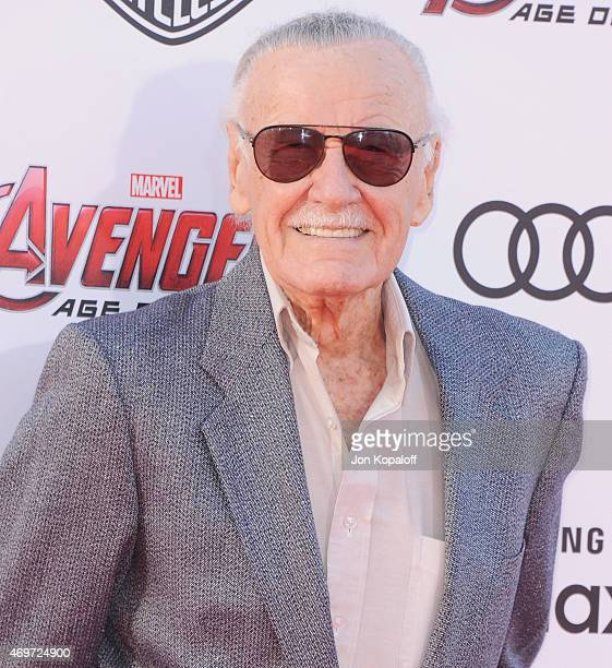 Stan Lee arrives at the Los Angeles Premiere Marvel's 'Avengers Age Of Ultron' at Dolby Theatre on April 13 2015 in Hollywood California