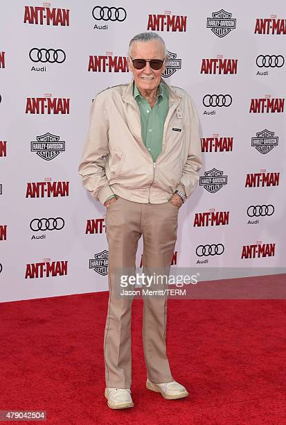 Stan Lee arrives at the Los Angeles Premiere of Marvel Studios 'AntMan' at Dolby Theatre on June 29 2015 in Hollywood California