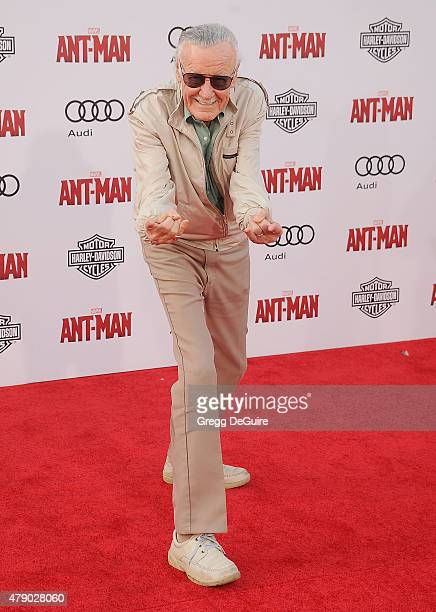 Stan Lee arrives at the premiere of Marvel Studios 'AntMan' at Dolby Theatre on June 29 2015 in Hollywood California