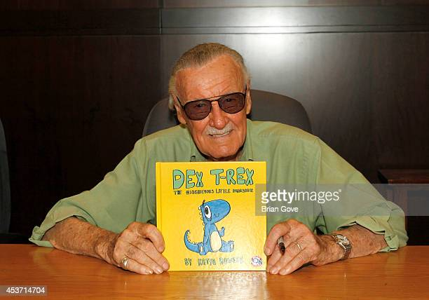 Stan Lee attends 'Dex TRex The Mischievous Little Dinosaur' Book Signing at Barnes Noble bookstore at The Grove on August 16 2014 in Los Angeles...