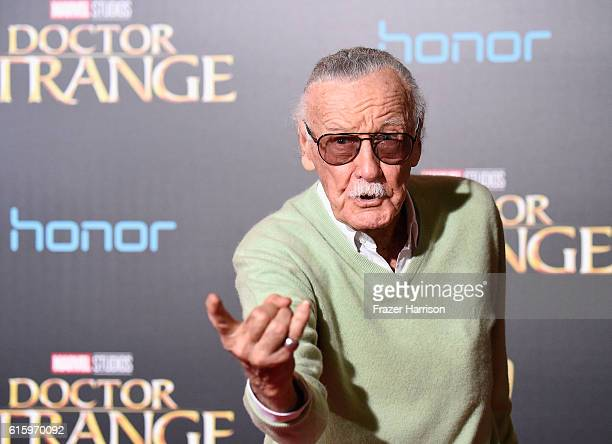 Stan Lee attends the Premiere of Disney and Marvel Studios' 'Doctor Strange' on October 20 2016 in Hollywood California