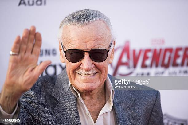 Stan Lee attends the premiere of Marvel's 'Avengers Age Of Ultron' at the Dolby Theatre on April 13 2015 in Hollywood California AFP PHOTO / ROBYN...
