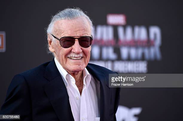 Stan Lee attends the premiere of Marvel's 'Captain America Civil War' at Dolby Theatre on April 12 2016 in Los Angeles California