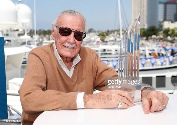 Stan Lee poses with the firstever IMDb STARmeter Award for Lifetime Achievement on the #IMDboat At San Diego ComicCon 2017 on the IMDb Yacht on July...