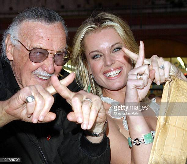 Stan Lee Rebecca RomijnStamos during 'X2 XMen United' Premiere Los Angeles Blue Carpet Arrivals at Grauman's Chinese Theatre in Hollywood California...