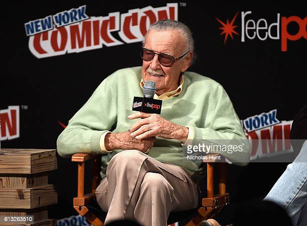 Stan Lee speak onstage at Stan Lee Creators Roundtable at Madison Square Garden on October 7 2016 in New York City