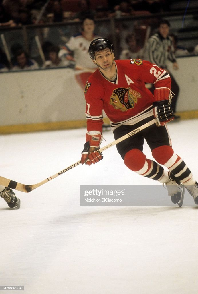 <a gi-track='captionPersonalityLinkClicked' href=/galleries/search?phrase=Stan+Mikita&family=editorial&specificpeople=1691052 ng-click='$event.stopPropagation()'>Stan Mikita</a> #21 of the Chicago Blackhawks skates on the ice during an NHL game against the New York Rangers circa 1973 at the Madison Square Garden in New York, New York.