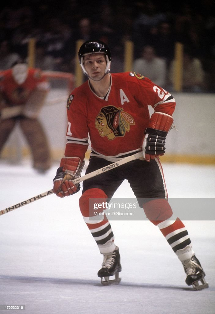 <a gi-track='captionPersonalityLinkClicked' href=/galleries/search?phrase=Stan+Mikita&family=editorial&specificpeople=1691052 ng-click='$event.stopPropagation()'>Stan Mikita</a> #21 of the Chicago Blackhawks skates on the ice during an NHL game against the New York Rangers circa 1972 at the Madison Square Garden in New York, New York.