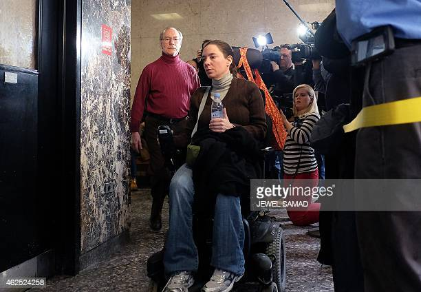 Stan Patz the father of Etan Patz and his wheelchairbound daughter Shira Patz arrive at a court in New York on January 30 2015 for a trail of a man...