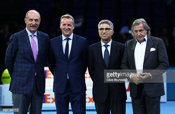 Stan Smith Manuel Orantes Chris Kermode the ATP executive chairman and president and Ilie Nastase pose during the ATP Finals Club presentation on day...