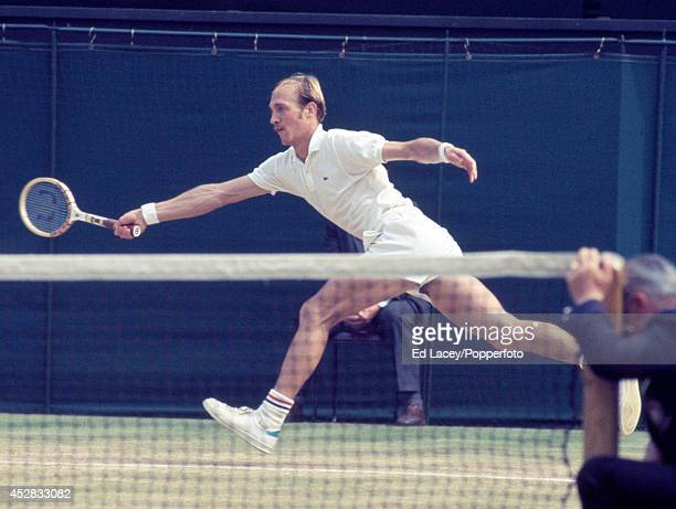 Stan Smith of the United States in action during the Men's Singles Final at Wimbledon on 3rd July 1971 Smith lost to John Newcombe of Australia in...