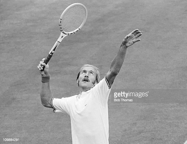 Stan Smith of the USA playing in a John Player tennis match in Nottingham in June 1974
