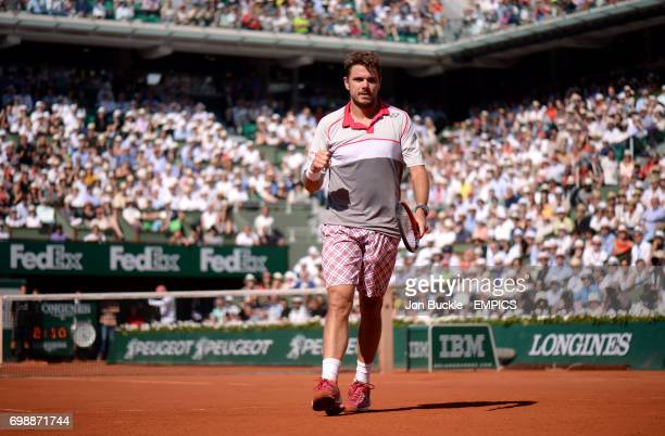 Stan Wawrinka during the men's singles final against Novak Djokovic on day fifteen of the French Open at Roland Garros on June 7th 2015 in Paris...