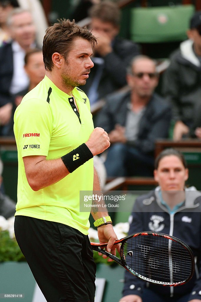 Stan Wawrinka during the Men's Singles on day eight of the French Open 2016 on May 29, 2016 in Paris, France.