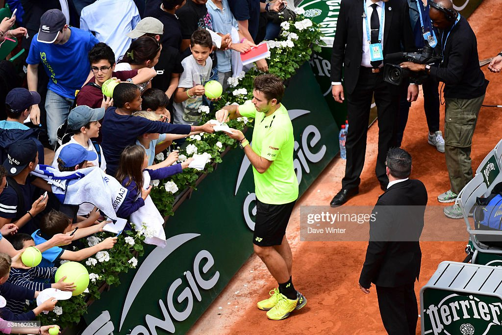 Stan Wawrinka during the Men's Singles second round on day four of the French Open 2016 at Roland Garros on May 25, 2016 in Paris, France.