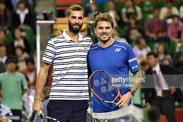 Stan Wawrinka of Switzerland and Benoit Paire of France pose for photographs before the men's singles final match on Day Seven of the Rakuten Open...